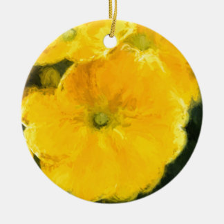 Yellow Pansies Ceramic Ornament
