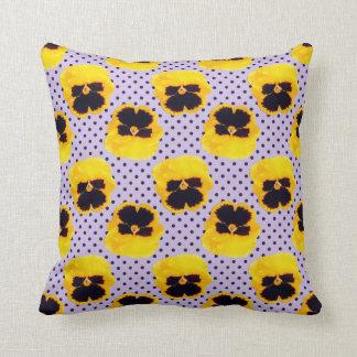 Yellow Pansies Dots Throw Pillow