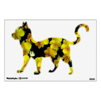 Yellow Pansies Floral Cats Wall Decal