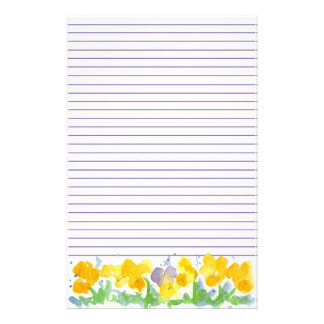 Yellow Pansies Floral Watercolor Painting Lined Stationery