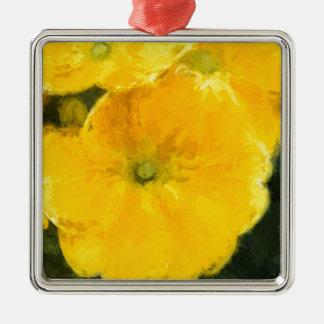 Yellow Pansies Metal Ornament