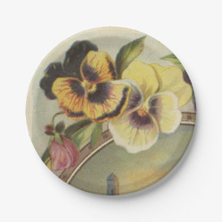 Yellow Pansies Paper Plate