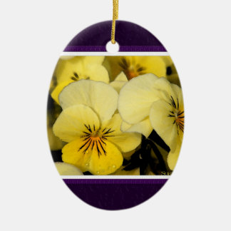 Yellow Pansies (Purple Matte) Ceramic Ornament