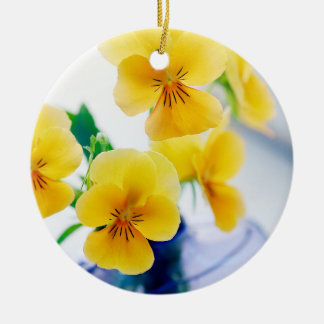 Yellow Pansies Purple Vase Pansy Flowers Spa Bath Double-Sided Ceramic Round Christmas Ornament