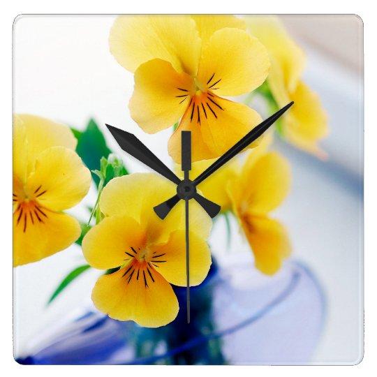 Yellow Pansies Purple Vase Pansy Flowers Spa Bath Square Wall Clock
