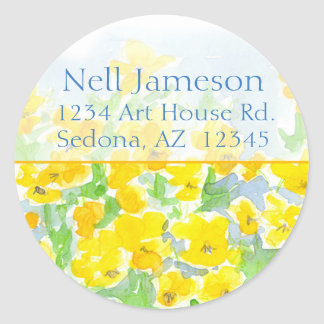 Yellow Pansies Watercolor Flowers Return Address Classic Round Sticker