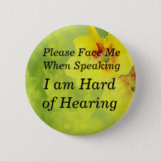 Yellow Pansy Please Face Me Button