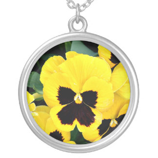 Yellow Pansy Round Pendant Necklace