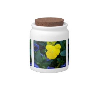 Yellow Pansy Spring Flowers Candy Jar Canister