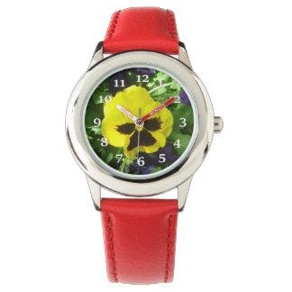 Yellow Pansy Wrist Watches
