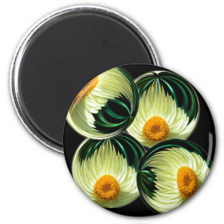 Yellow Paper Daisy 2 Inch Round Magnet