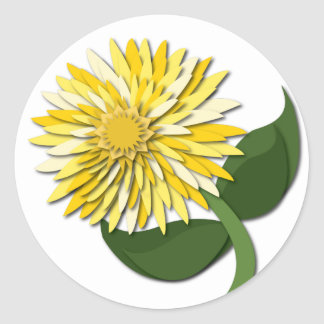 Yellow Paper Flower Sticker