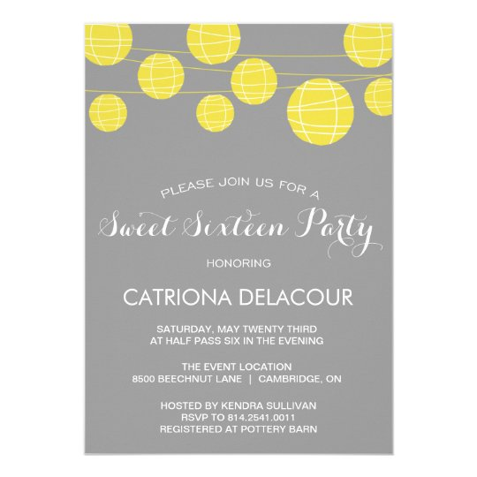 Yellow Paper Lantern Sweet Sixteen Invitation