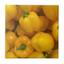 Yellow paprika vegetable pattern tile