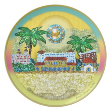 Beach Themed Yellow Paradise Bondi Beach Australia Dinner Plate