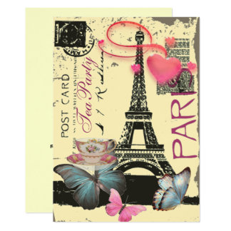yellow Paris eiffel tower bridal shower tea party Card