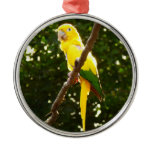 Yellow Parrot Metal Ornament