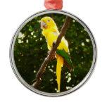 Yellow Parrot Metal Ornament