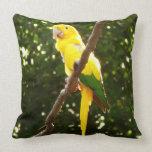 Yellow Parrot Throw Pillow