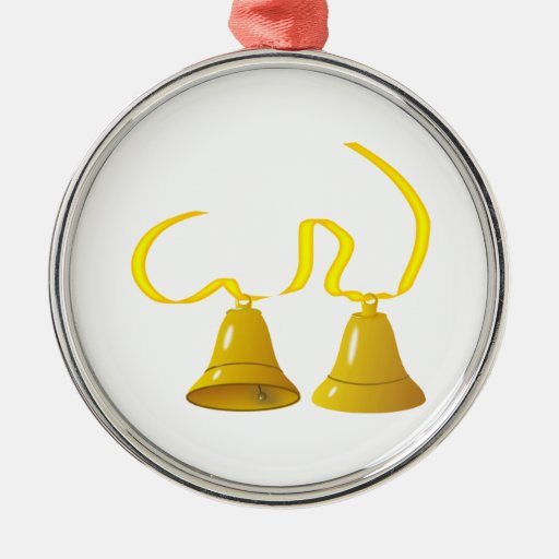 Yellow Party Bells Christmas Ornaments