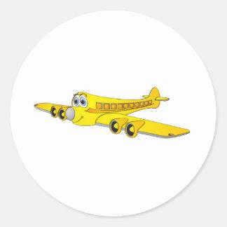 Yellow Passenger Jet Cartoon Classic Round Sticker