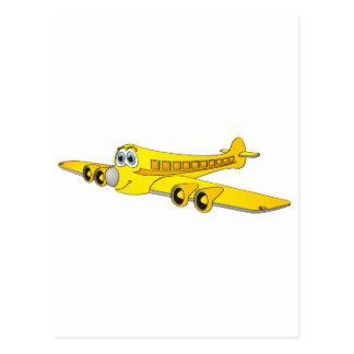 Yellow Passenger Jet Cartoon Post Card