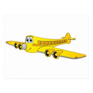 Yellow Passenger Jet Cartoon Postcard