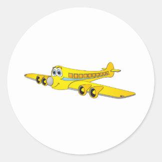 Yellow Passenger Jet O Cartoon Classic Round Sticker