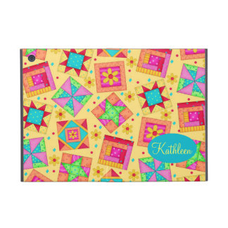 Yellow Patchwork Quilt Block Art Personalized iPad Mini Covers