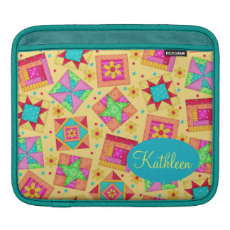 Yellow Patchwork Quilt Block Art Personalized Sleeve For iPads