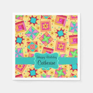 Yellow Patchwork Quilt Block Name Happy Birthday Paper Napkin
