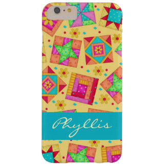 Yellow Patchwork Quilt Block Name Personalized Barely There iPhone 6 Plus Case