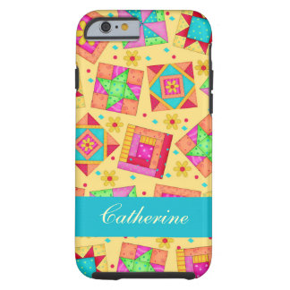 Yellow Patchwork Quilt Block Name Personalized Tough iPhone 6 Case
