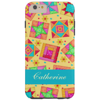 Yellow Patchwork Quilt Block Name Personalized Tough iPhone 6 Plus Case