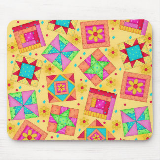 Yellow Patchwork Quilt Blocks Mousepad