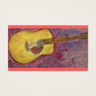 yellow patina acoustic guitar Art Business Card