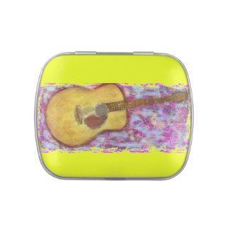 yellow patina acoustic guitar candy tins