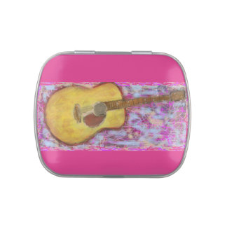 yellow patina acoustic guitar jelly belly candy tins
