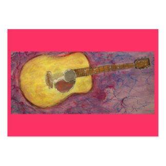 yellow patina acoustic guitar large business card