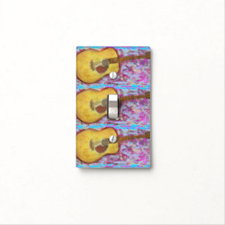 yellow patina acoustic guitar light switch cover