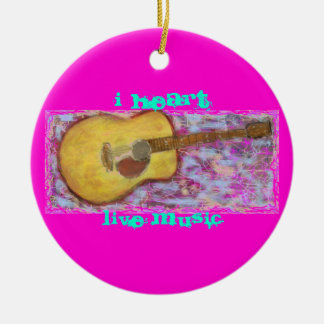 yellow patina acoustic guitar Live Music Ceramic Ornament