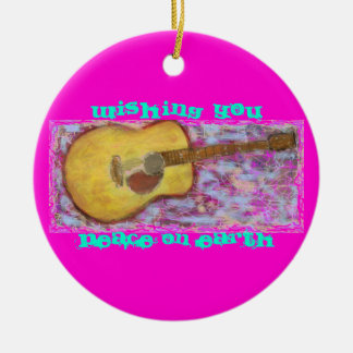 yellow patina acoustic guitar Peace On Earth Ceramic Ornament