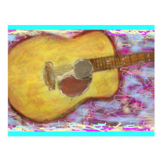 yellow patina acoustic guitar postcard
