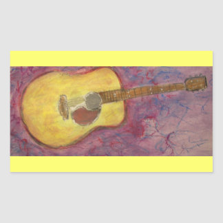yellow patina acoustic guitar rectangular sticker