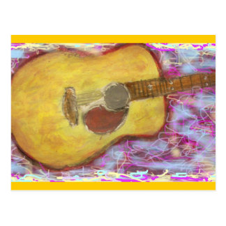 yellow patina acoustic guitar Rock On Postcard