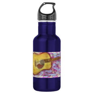 yellow patina acoustic guitar stainless steel water bottle
