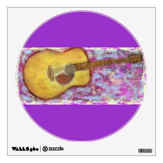 yellow patina acoustic guitar wall decal