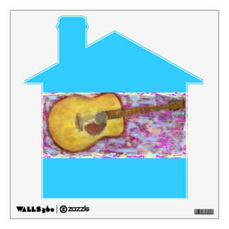 yellow patina acoustic guitar wall sticker