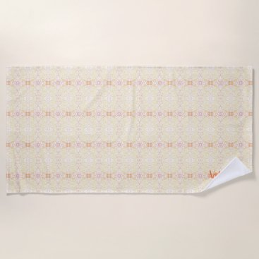 Beach Themed Yellow Pattern Beach Towel