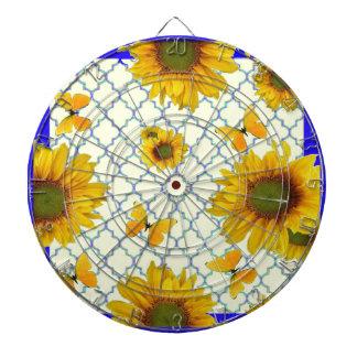 Yellow Pattern Butterfly & Sunflowers Dartboards
